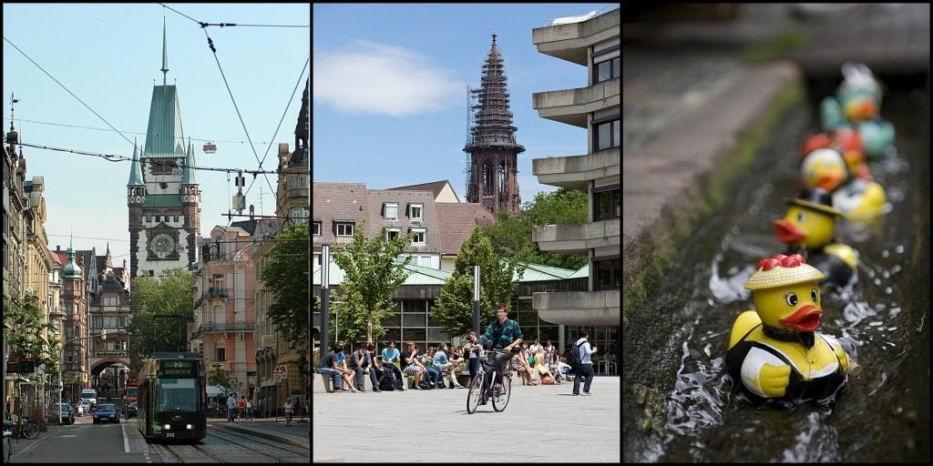 Blick aufs Martinstor, Innenhof KGII und Freiburger Bächle (Fotolinks und rechts: Joachim Hirschfeld, Mitte: Sebastian Bender)